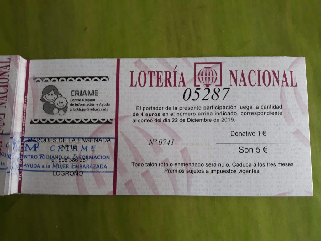 Participación de 5 euros (1 para pañales)